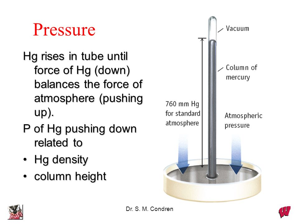 Pressure Hg rises in tube until force of Hg (down) balances the force of atmosphere (pushing up). P of Hg pushing down related to.