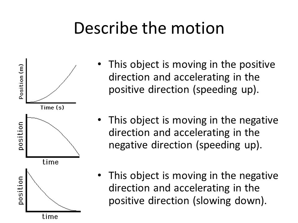 Describe the motion This object is moving in the positive direction and accelerating in the positive direction (speeding up).
