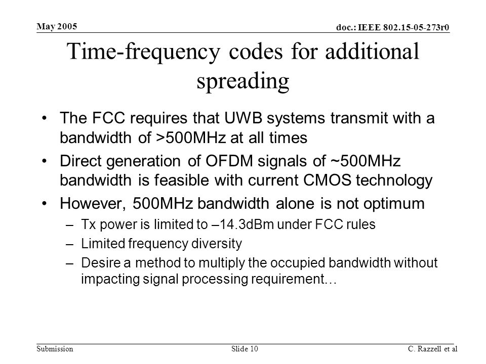 Time-frequency codes for additional spreading