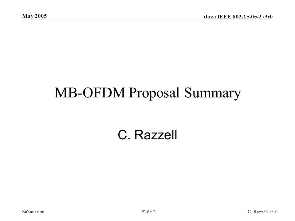 MB-OFDM Proposal Summary