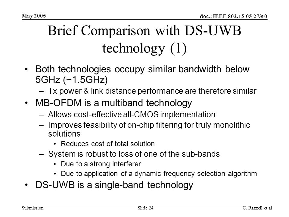 Brief Comparison with DS-UWB technology (1)