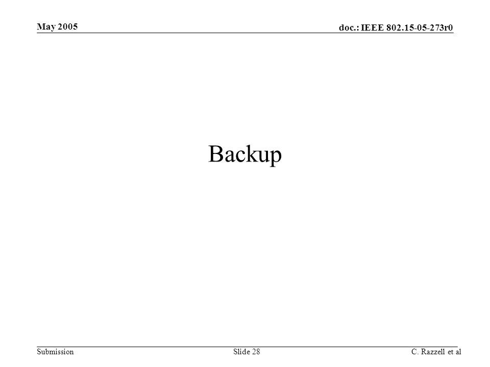 May 2005 Backup C. Razzell et al