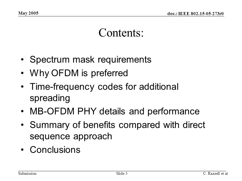 Contents: Spectrum mask requirements Why OFDM is preferred