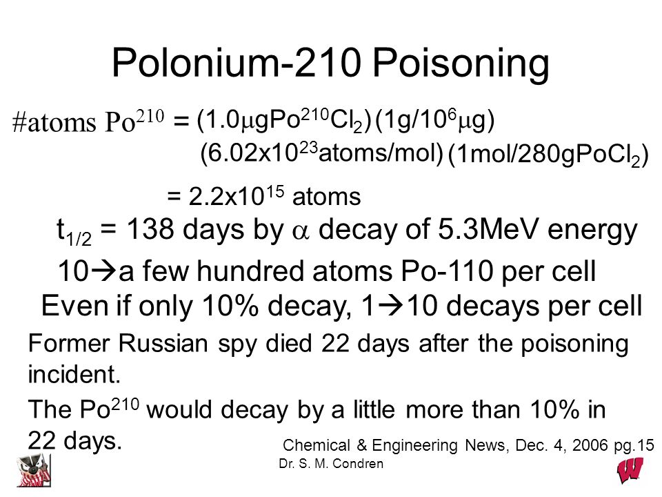 Polonium-210 Poisoning #atoms Po210 =