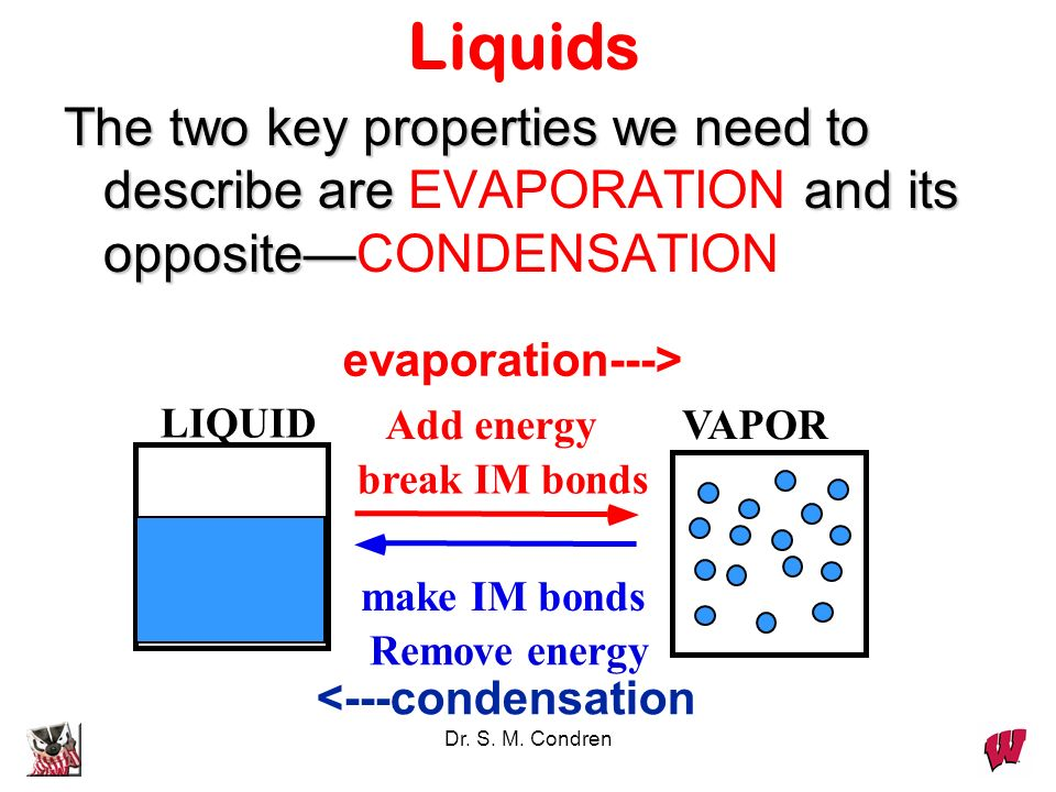 Liquids The two key properties we need to describe are EVAPORATION and its opposite—CONDENSATION. evaporation--->