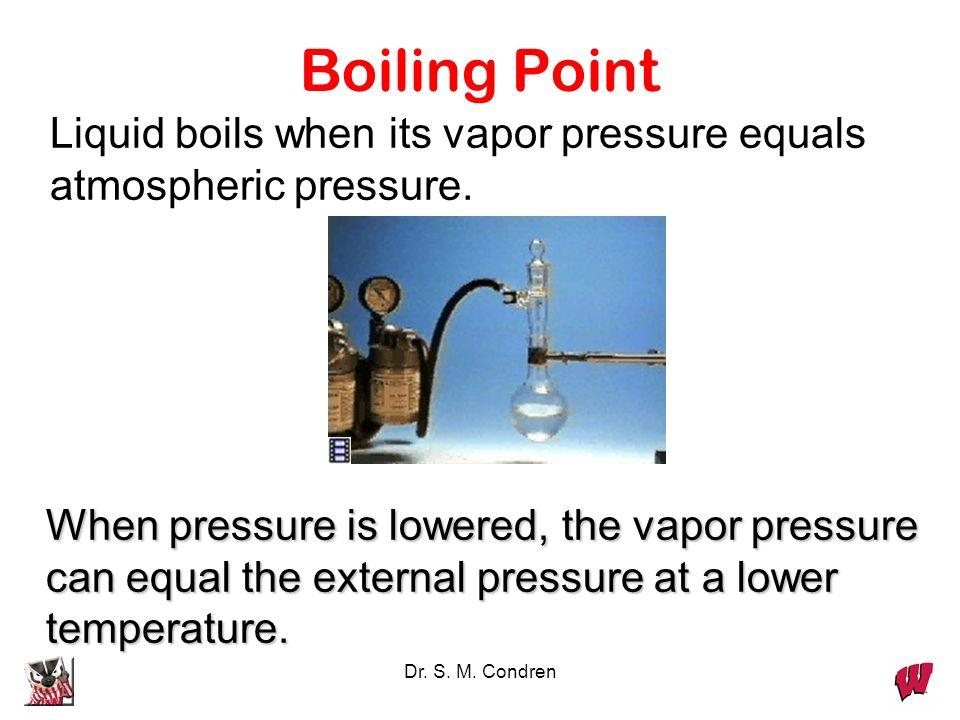 Boiling PointLiquid boils when its vapor pressure equals atmospheric pressure.