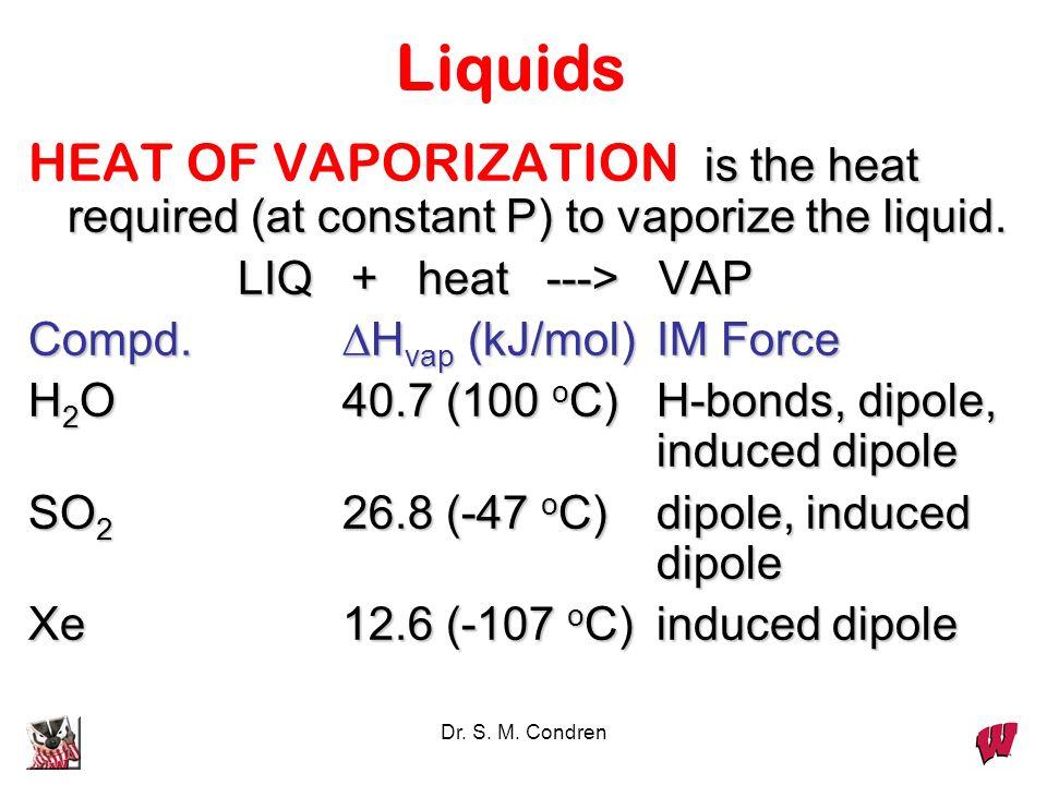 LiquidsHEAT OF VAPORIZATION is the heat required (at constant P) to vaporize the liquid. LIQ + heat ---> VAP.