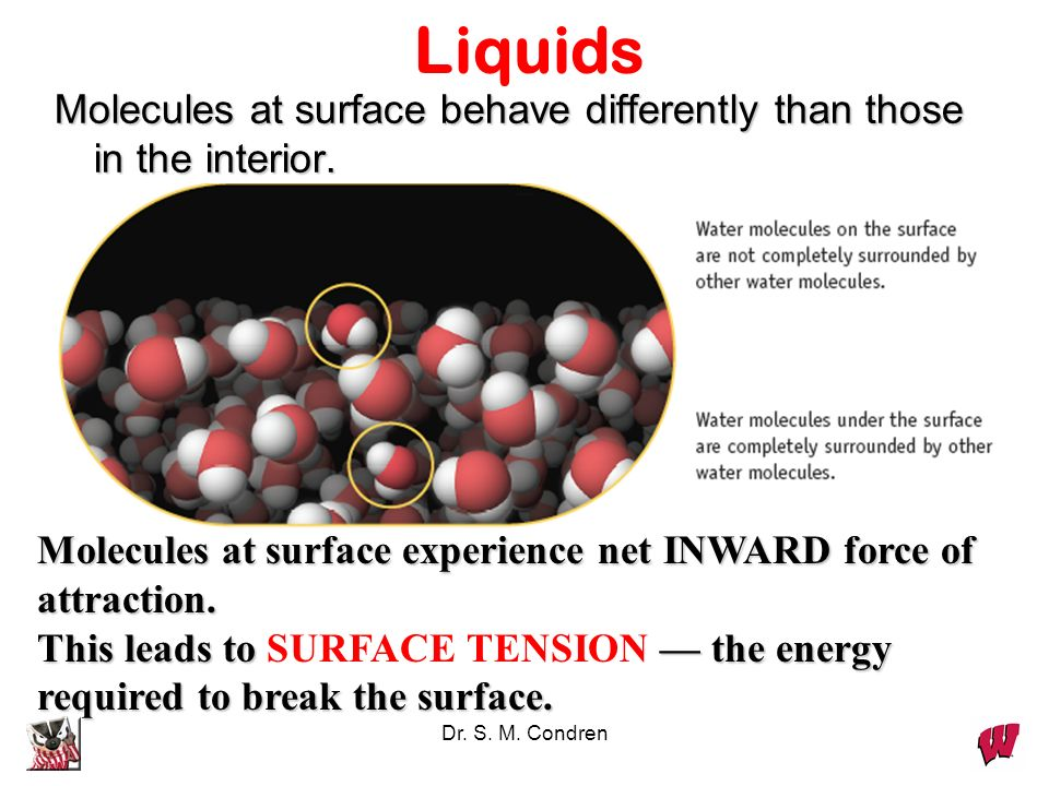 LiquidsMolecules at surface behave differently than those in the interior. Molecules at surface experience net INWARD force of attraction.