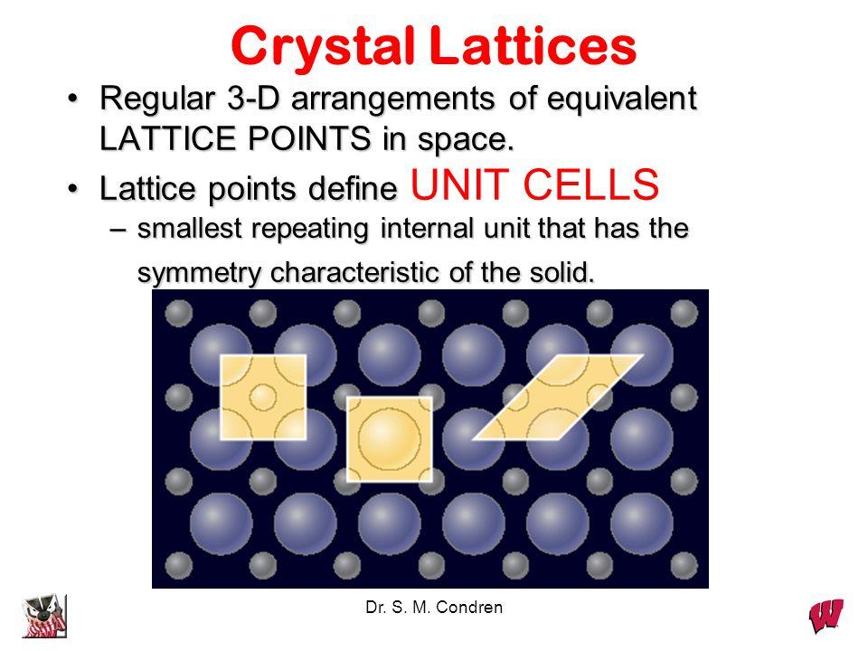 Crystal LatticesRegular 3-D arrangements of equivalent LATTICE POINTS in space. Lattice points define UNIT CELLS.