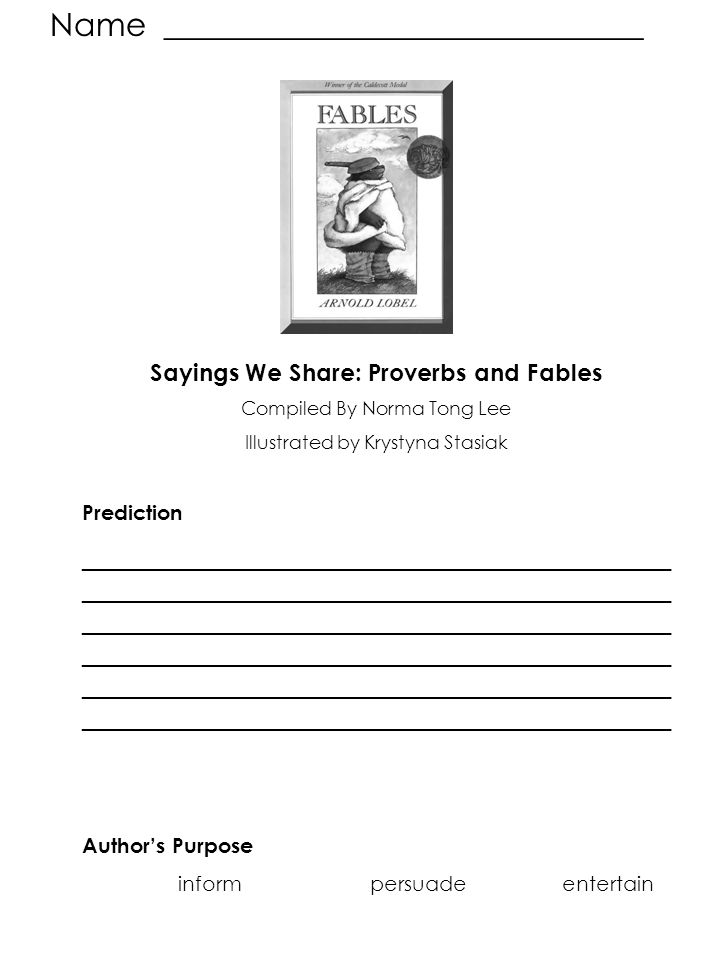 Sayings We Share: Proverbs and Fables