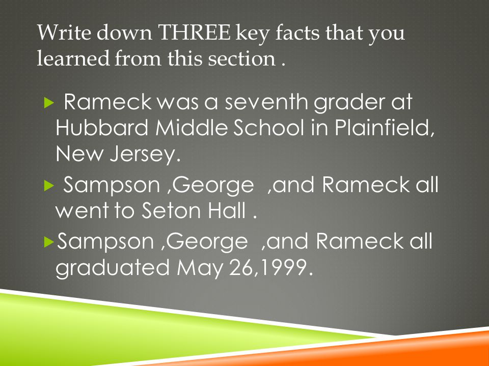 Write down THREE key facts that you learned from this section .