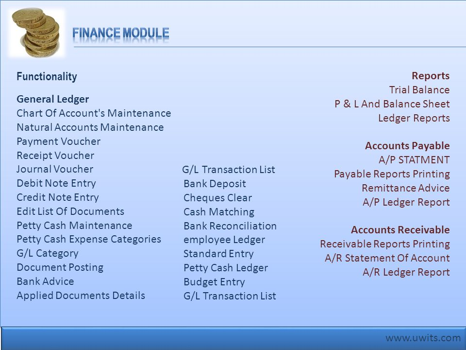 Finance Module Functionality Reports Trial Balance
