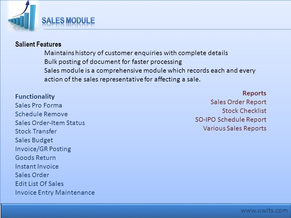 Sales Module Salient Features
