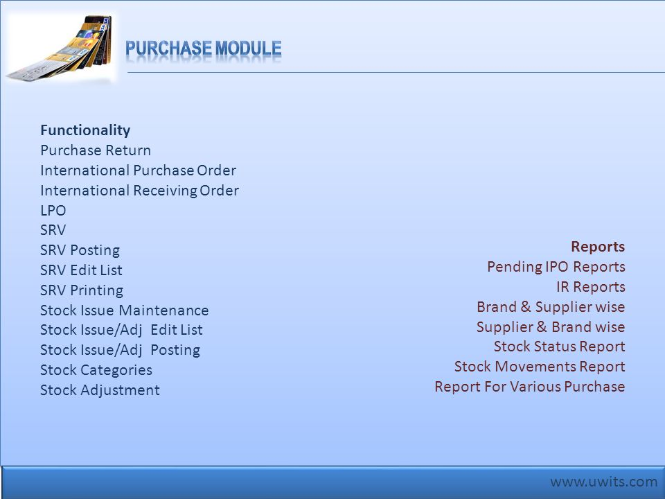 Purchase Module Functionality Purchase Return