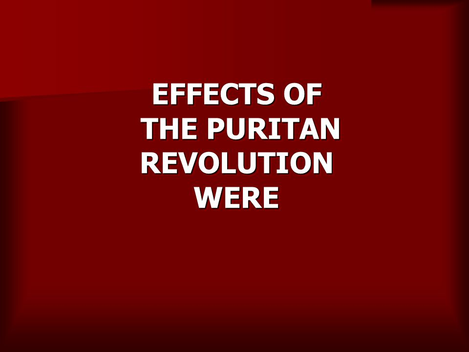 EFFECTS OF THE PURITAN REVOLUTION WERE