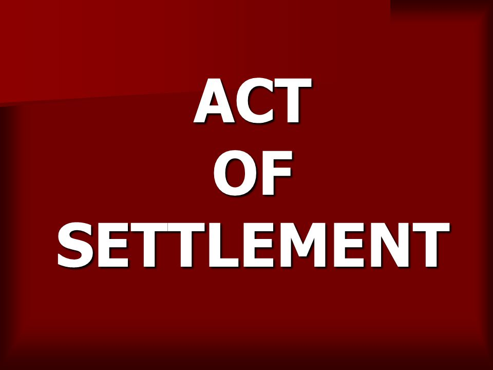 ACT OF SETTLEMENT