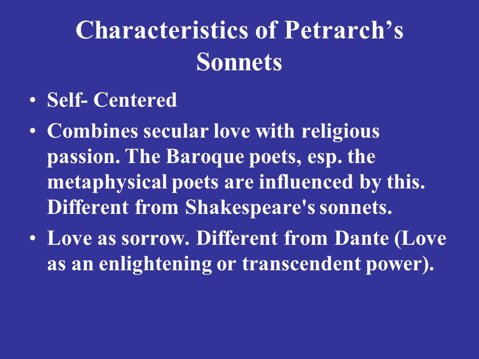 Characteristics of Petrarch's Sonnets