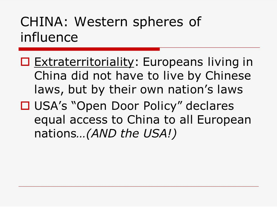 CHINA: Western spheres of influence