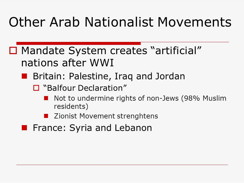 Other Arab Nationalist Movements