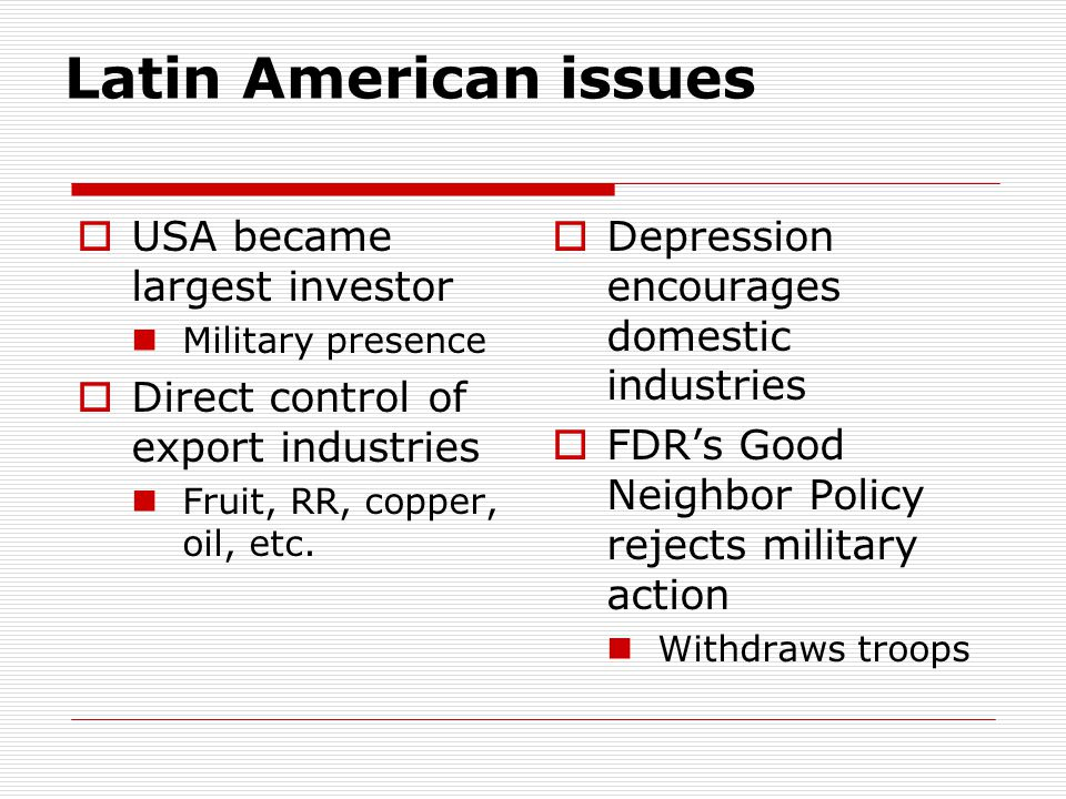 Latin American issues USA became largest investor