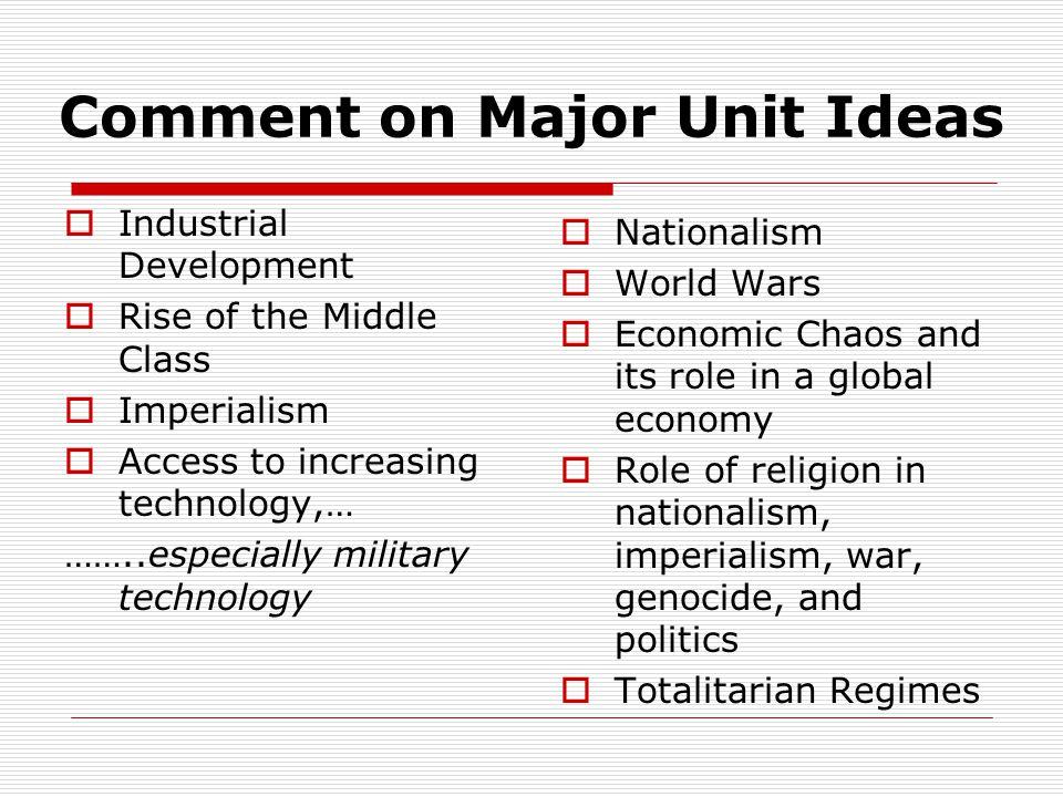 Comment on Major Unit Ideas