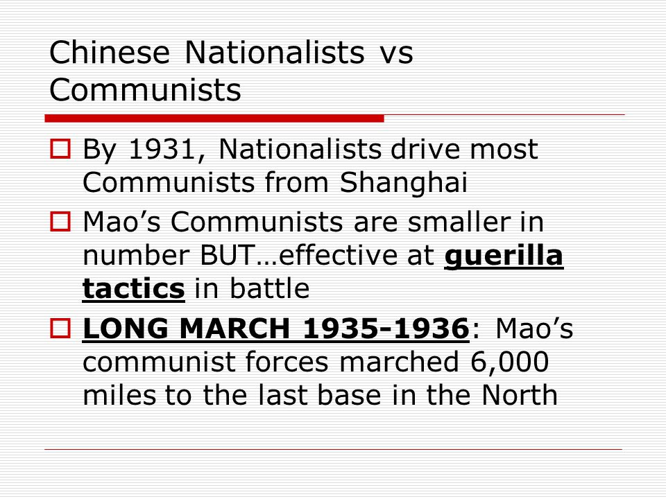 Chinese Nationalists vs Communists