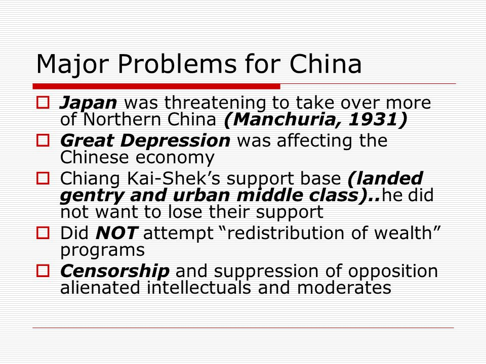 Major Problems for China