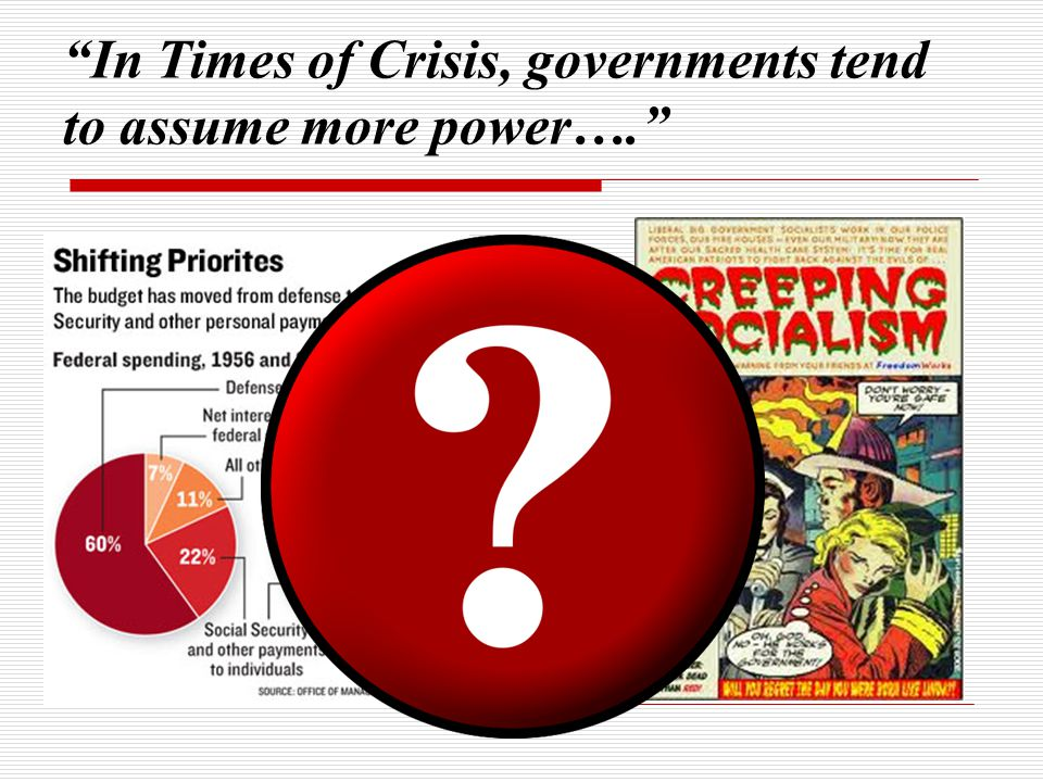 In Times of Crisis, governments tend to assume more power….