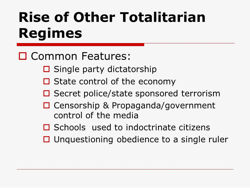 Rise of Other Totalitarian Regimes
