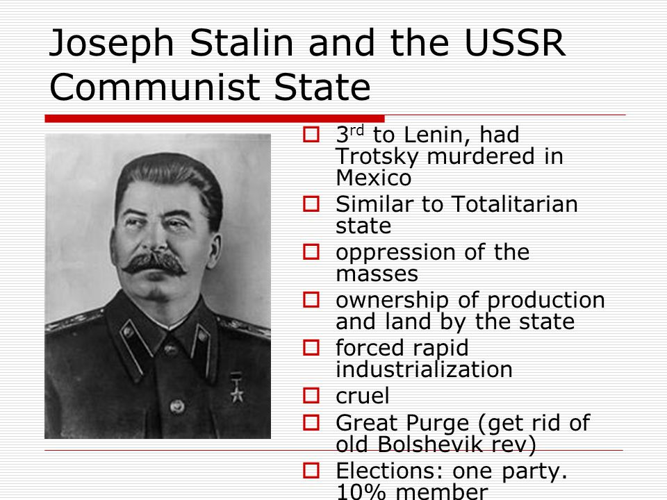Joseph Stalin and the USSR Communist State