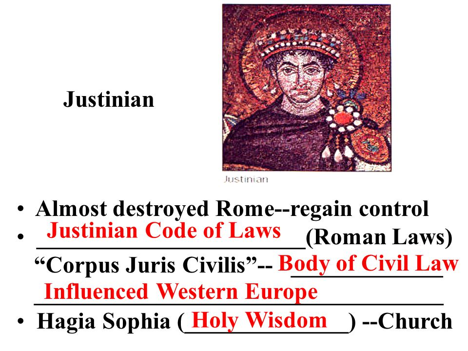 Justinian Almost destroyed Rome--regain control. _______________________(Roman Laws) Corpus Juris Civilis -- _____________.