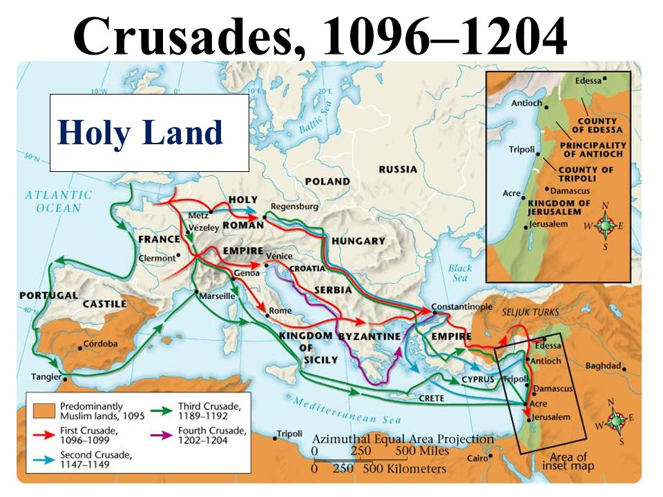 3 Crusades, 1096–1204 Holy Land