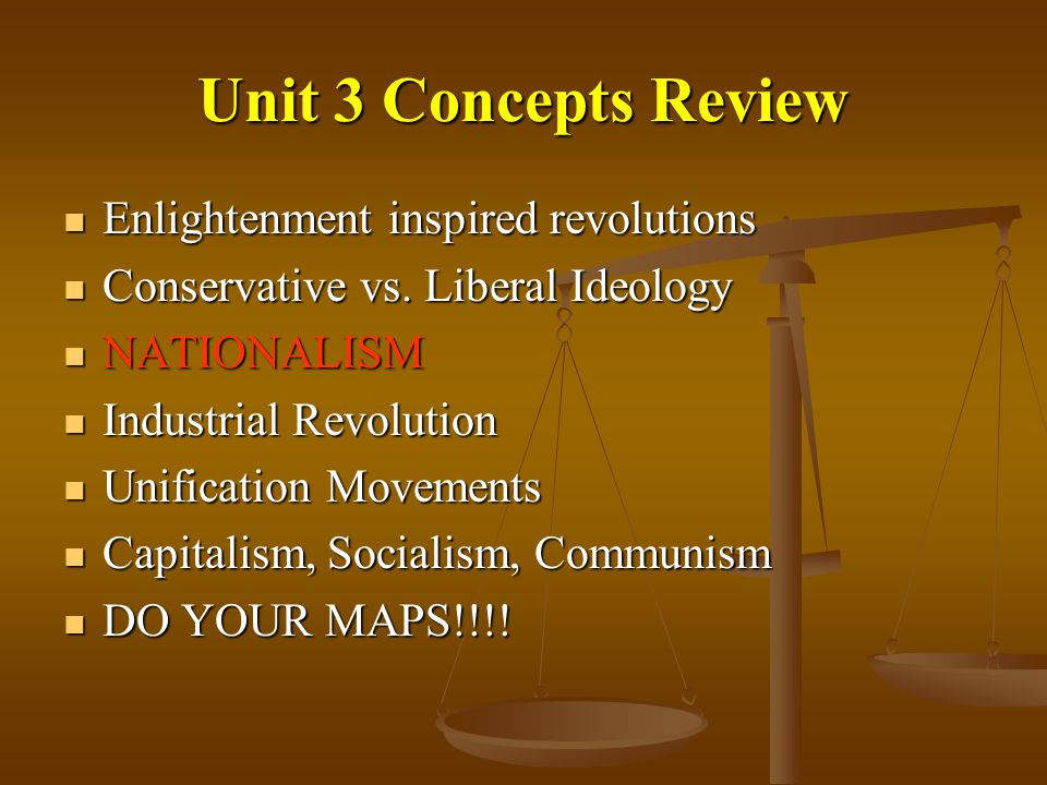 Unit 3 Concepts Review Enlightenment inspired revolutions