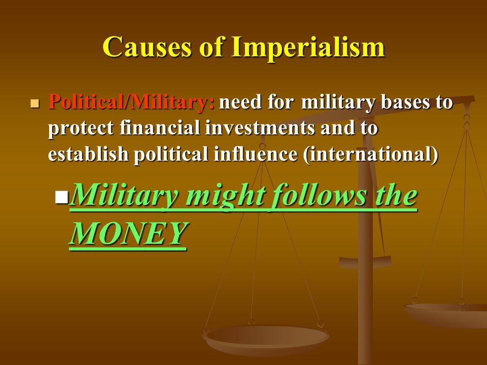 Military might follows the MONEY