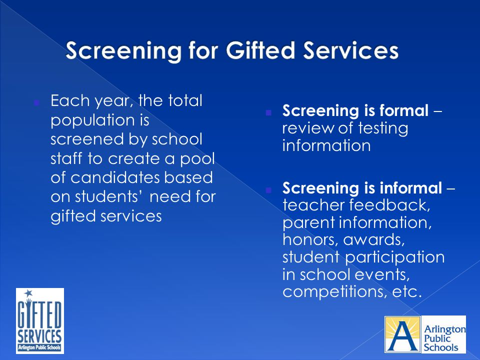 Screening for Gifted Services