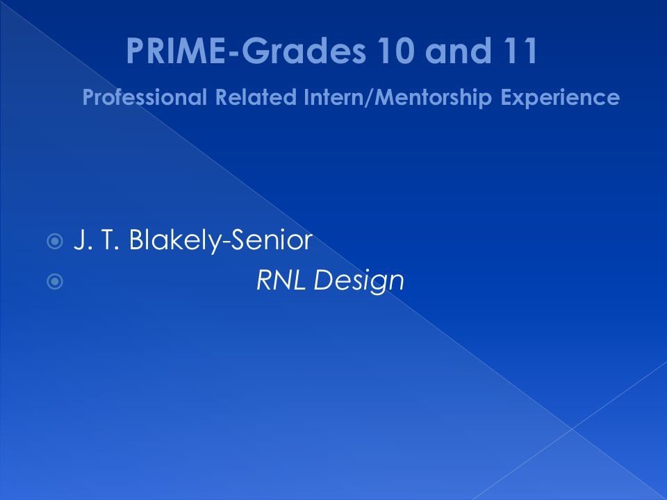 PRIME-Grades 10 and 11 Professional Related Intern/Mentorship Experience