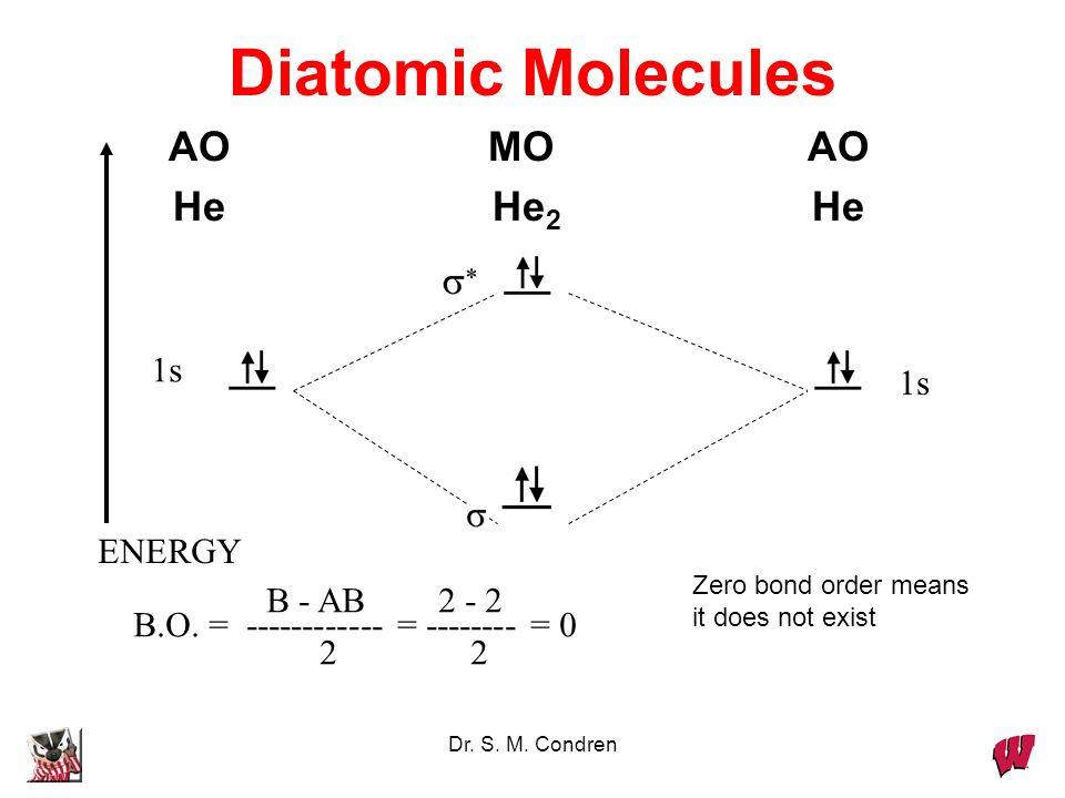 Diatomic Molecules AO MO AO He He2 He 1s 1s ENERGY B - AB 2 - 2