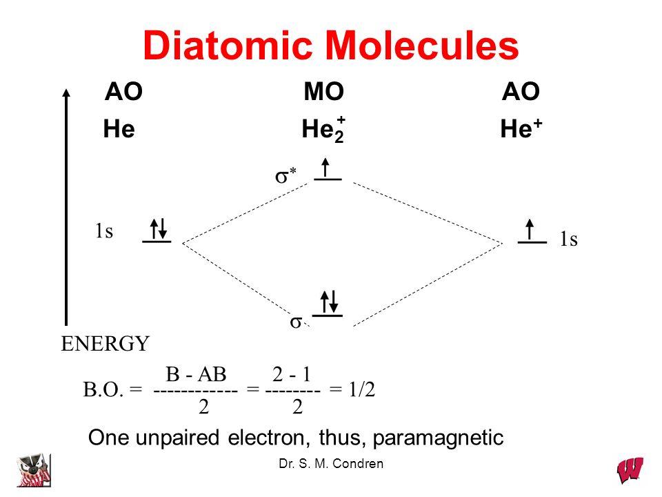 Diatomic Molecules AO MO AO He He2 He+ 1s 1s ENERGY B - AB 2 - 1