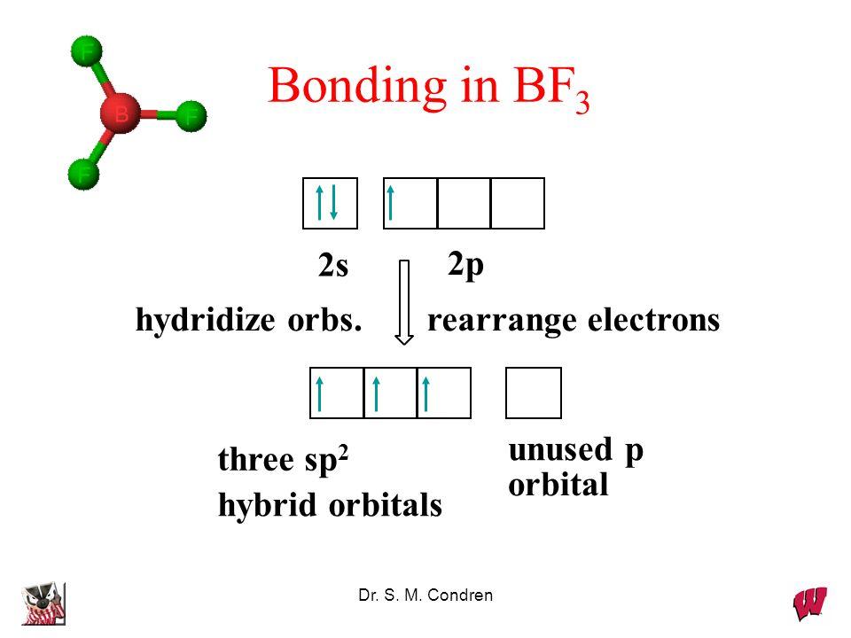 Bonding in BF3 rearrange electrons hydridize orbs. unused p orbital
