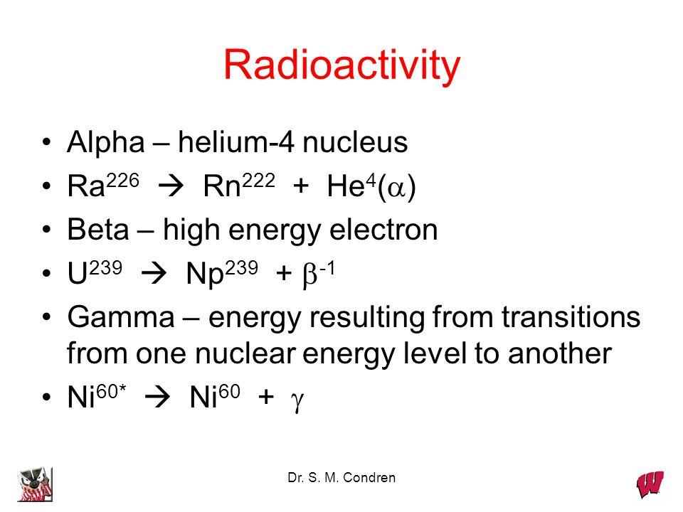 Radioactivity Alpha – helium-4 nucleus Ra226  Rn222 + He4(a)