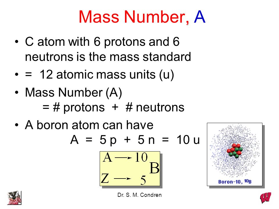 Mass Number, A C atom with 6 protons and 6 neutrons is the mass standard. = 12 atomic mass units (u)