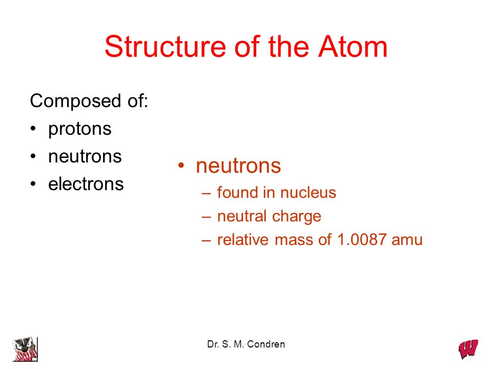 Structure of the Atom neutrons Composed of: protons neutrons electrons
