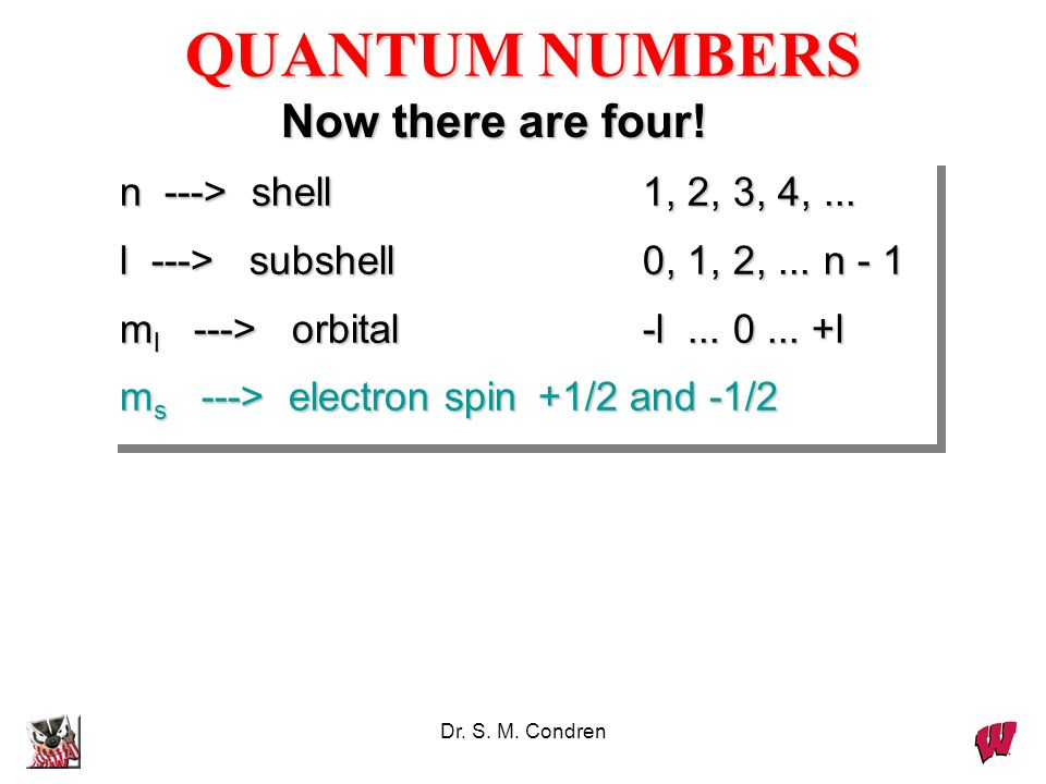 QUANTUM NUMBERS Now there are four! n ---> shell 1, 2, 3, 4, ...