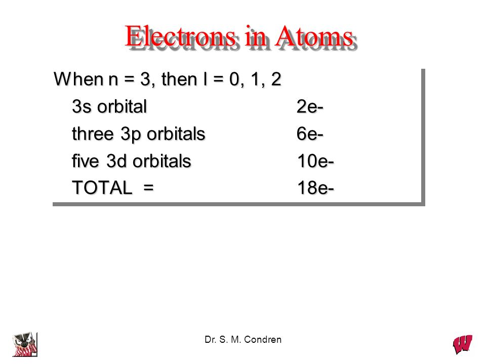 Electrons in Atoms When n = 3, then l = 0, 1, 2 3s orbital 2e-