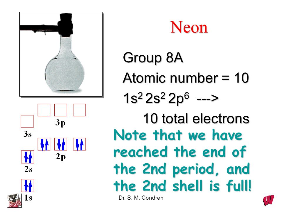 Neon Group 8A Atomic number = 10 1s2 2s2 2p6 --->
