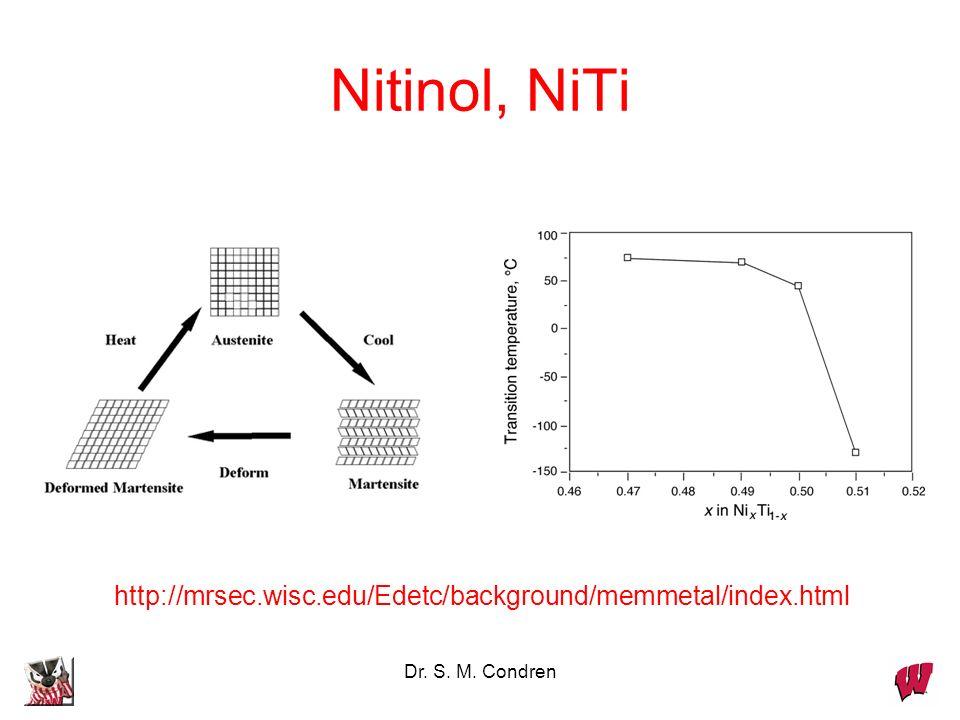 Nitinol, NiTi http://mrsec.wisc.edu/Edetc/background/memmetal/index.html Dr. S. M. Condren