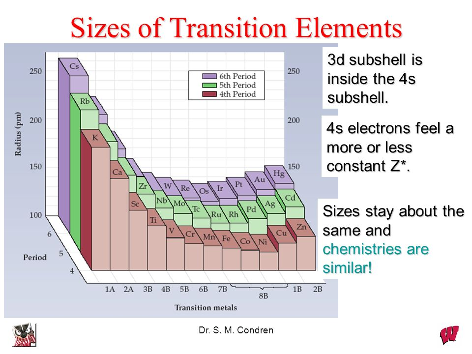 Sizes of Transition Elements