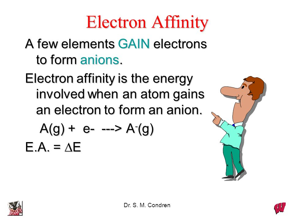 Electron Affinity A few elements GAIN electrons to form anions.