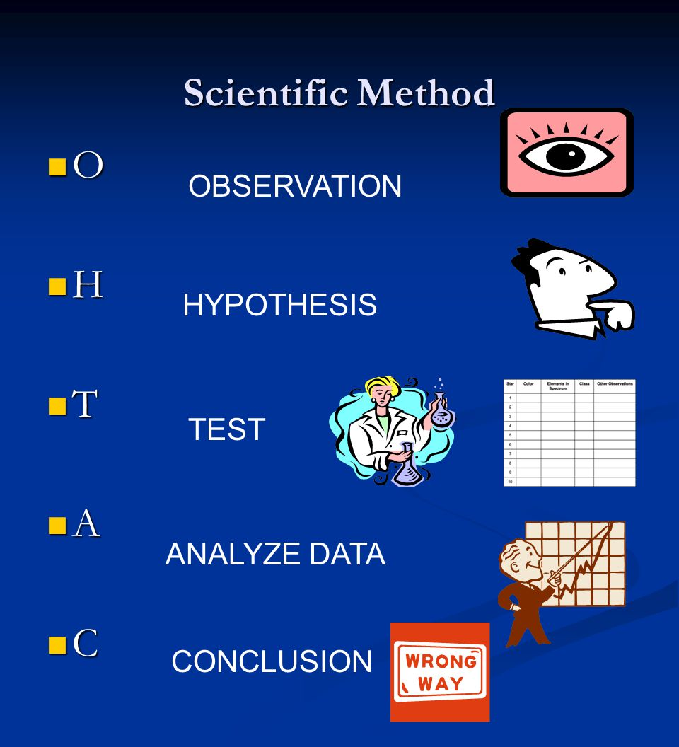 Scientific Method O H T A C OBSERVATION HYPOTHESIS TEST ANALYZE DATA