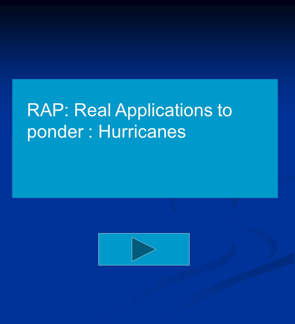 RAP: Real Applications to ponder : Hurricanes
